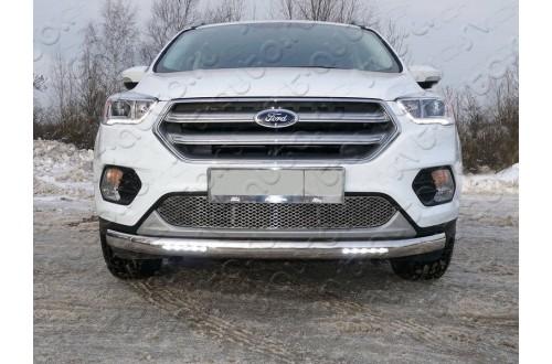 Защита переднего бампера овальная с ДХО Ford Kuga 2 рестайлинг