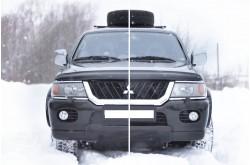 Заглушка решётки переднего бампера Mitsubishi Pajero Sport