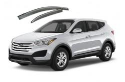 Дефлекторы окон Hyundai Santa Fe III с хром молдингом