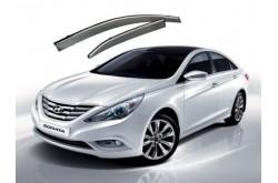 Дефлекторы с хром молдингом Hyundai Sonata IV YF