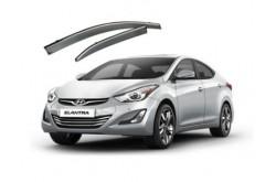 Дефлекторы окон Hyundai Elantra V с хром молдингом