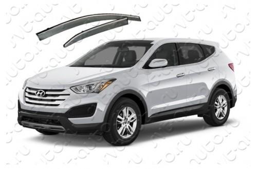 Дефлекторы окон Hyundai Santa Fe III с молдингом из нержавеющей стали