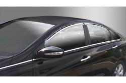 Дефлекторы окон Hyundai Sonata YF хром