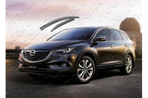 Дефлекторы  окон с хром молдингом Mazda CX 9 ресталинг