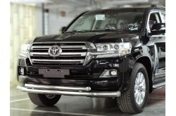 Защита переднего бампера двойная Toyota LandCruiser 200 2015-н.в.