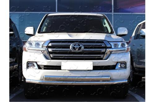 Двойная защита бампера (верхняя овальная) Toyota LandCruiser 200 2015