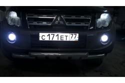 Дневные ходовые огни с ПТФ Mitsubishi Pajero 4