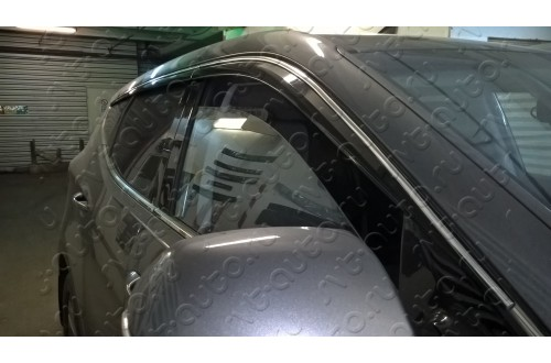 Дефлекторы окон с хромированным молдингом Hyundai Santa Fe 3